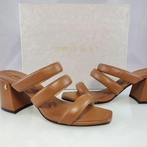NWT$525 Jimmy Choo Auna 65 Leather Mule Block Heel